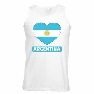 Argentinie hart vlag singlet shirt/ tanktop wit heren