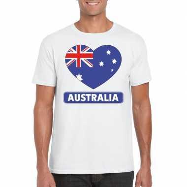 Australie hart vlag t-shirt wit heren