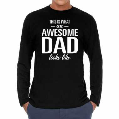 Awesome dad cadeau t-shirt long sleeves zwart heren