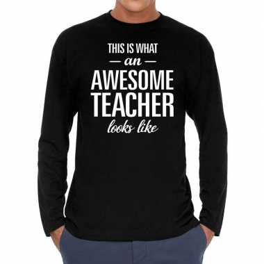 Awesome teacher cadeau t-shirt long sleeves zwart heren