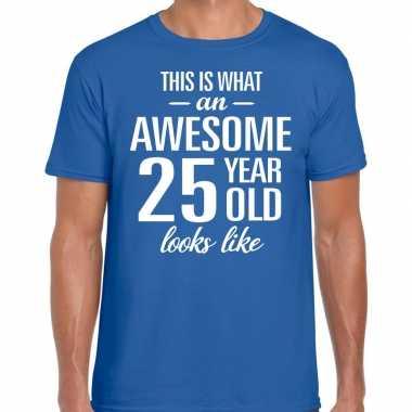 Awesome year / jaar cadeau t shirt blauw heren