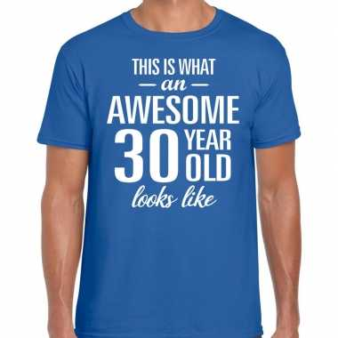Awesome year / jaar cadeau t shirt blauw heren