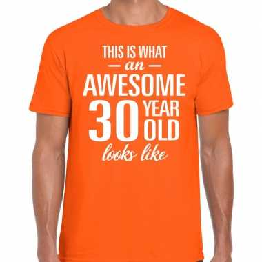 Awesome year / jaar cadeau t shirt oranje heren