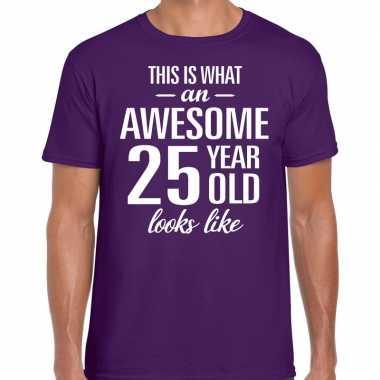 Awesome year / jaar cadeau t shirt paars heren