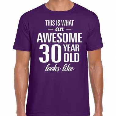 Awesome year / jaar cadeau t shirt paars heren
