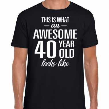 Awesome year / jaar cadeau t shirt zwart heren