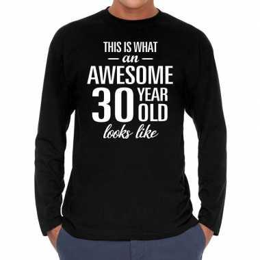 Awesome year jaar cadeaushirt long sleeves zwart heren 10195942