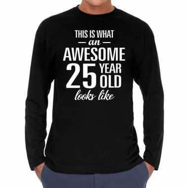 Awesome year / jaar cadeaushirt long sleeves zwart heren