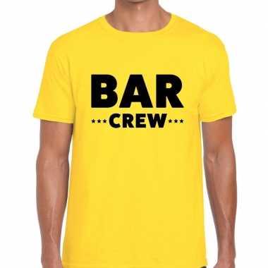 Bar crew / personeel tekst t shirt geel heren