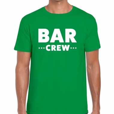 Bar crew / personeel tekst t shirt groen heren