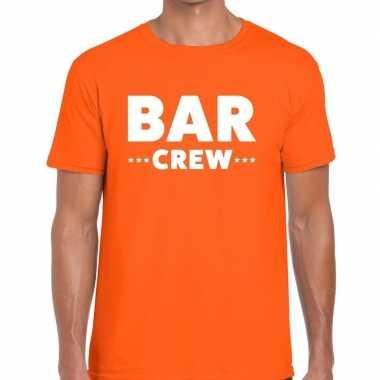 Bar crew / personeel tekst t shirt oranje heren