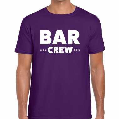 Bar crew / personeel tekst t shirt paars heren