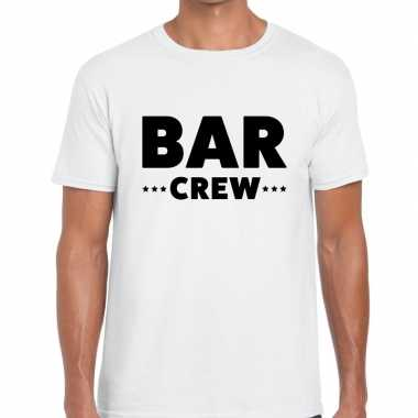 Bar crew / personeel tekst t shirt wit heren