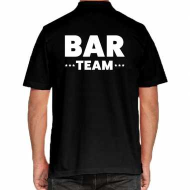 Bar team / personeel tekst polo shirt zwart heren