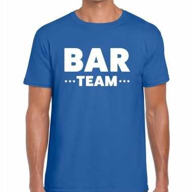 Bar team / personeel tekst t shirt blauw heren