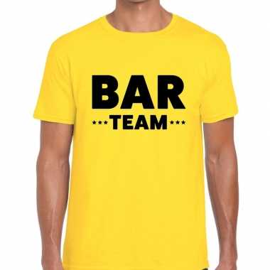 Bar team / personeel tekst t shirt geel heren