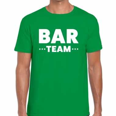 Bar team / personeel tekst t shirt groen heren