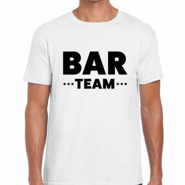 Bar team / personeel tekst t shirt wit heren