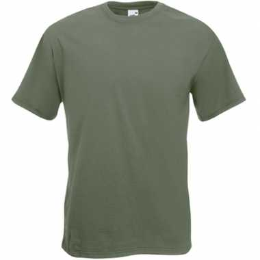 Basic olijf groen t shirt heren
