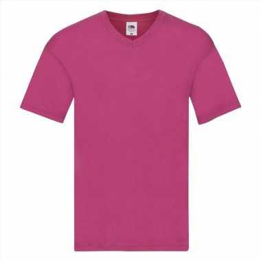 Basic v hals katoenen t shirt fuchsia heren