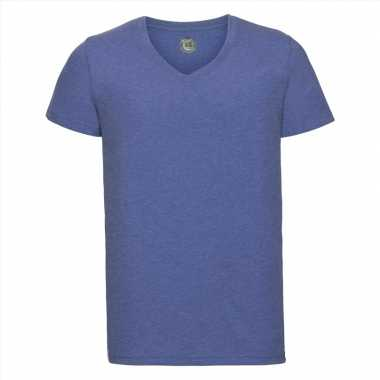 Basic v hals t shirt vintage washed denim blauw heren