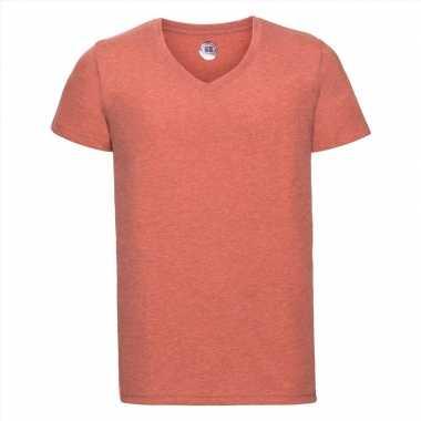 Basic v hals t shirt vintage washed koraal oranje heren