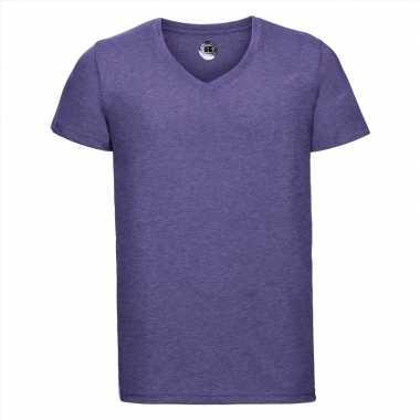 Basic v hals t shirt vintage washed paars heren