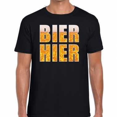 Bier hier tekst t shirt zwart heren