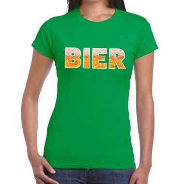 Bier tekst t shirt groen heren