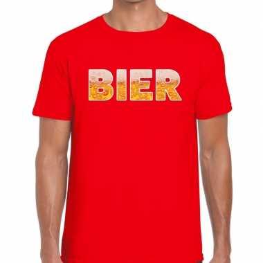 Bier tekst t shirt rood heren