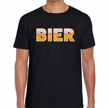 Bier tekst t shirt zwart heren