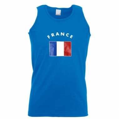 Blauw heren singlet frankrijk shirt