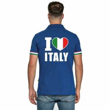 Blauw i love italie polo heren shirt