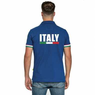 Blauw italie supporter polo heren shirt