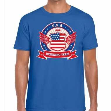 Blauw usa drinking team t shirt heren