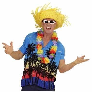Blauwe hawaii verkleed blouse palmboomprint heren shirt
