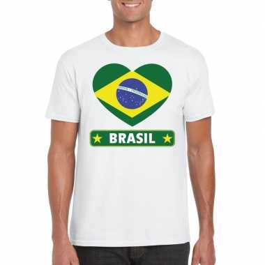 Brazilie hart vlag t shirt wit heren
