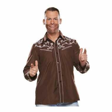 Bruine western blouse heren shirt