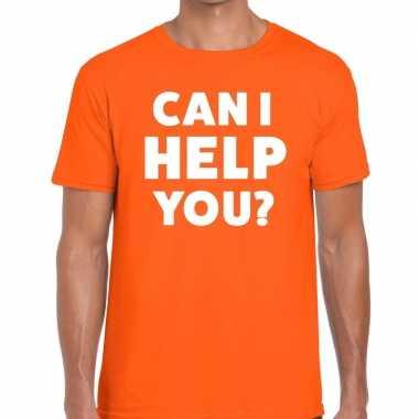 Can i help you beurs/evenementen t shirt oranje heren