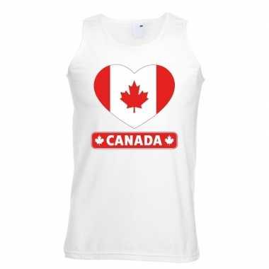 Canada hart vlag singlet-shirt tanktop wit heren