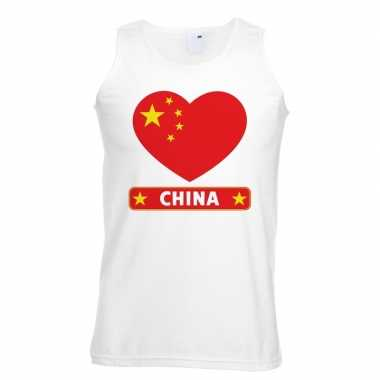 China hart vlag singlet-shirt tanktop wit heren