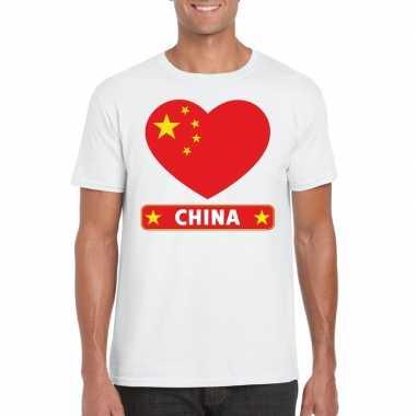 China hart vlag t-shirt wit heren