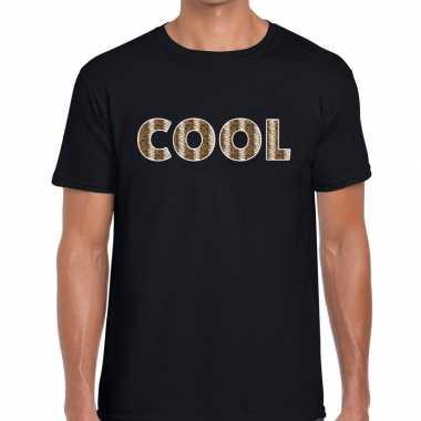 Cool tekst t shirt zwart heren slangenprint
