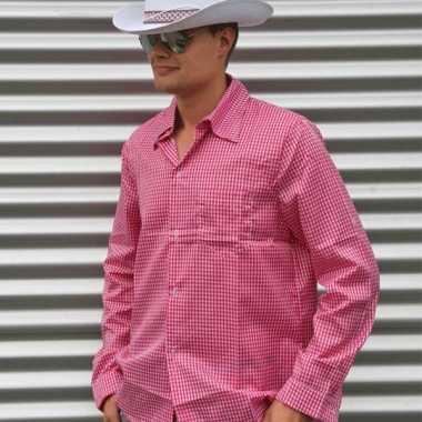 Cowboy blouse roze heren shirt