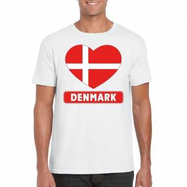 Denemarken hart vlag t shirt wit heren