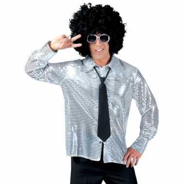 Disco pailletten blouse zilver heren shirt