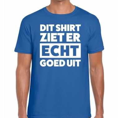 Dit shirt ziet er echt goed uit tekst t shirt blauw heren