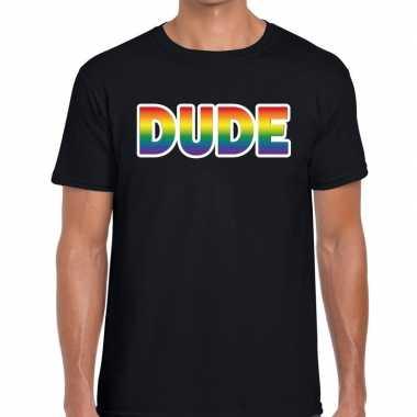 Dude regenboog gaypride shirt zwart heren