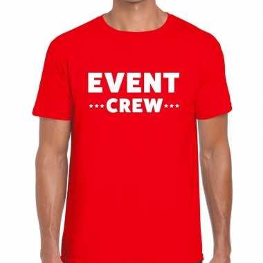 Event crew / personeel tekst t shirt rood heren
