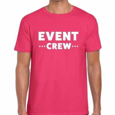 Event crew / personeel tekst t shirt roze heren